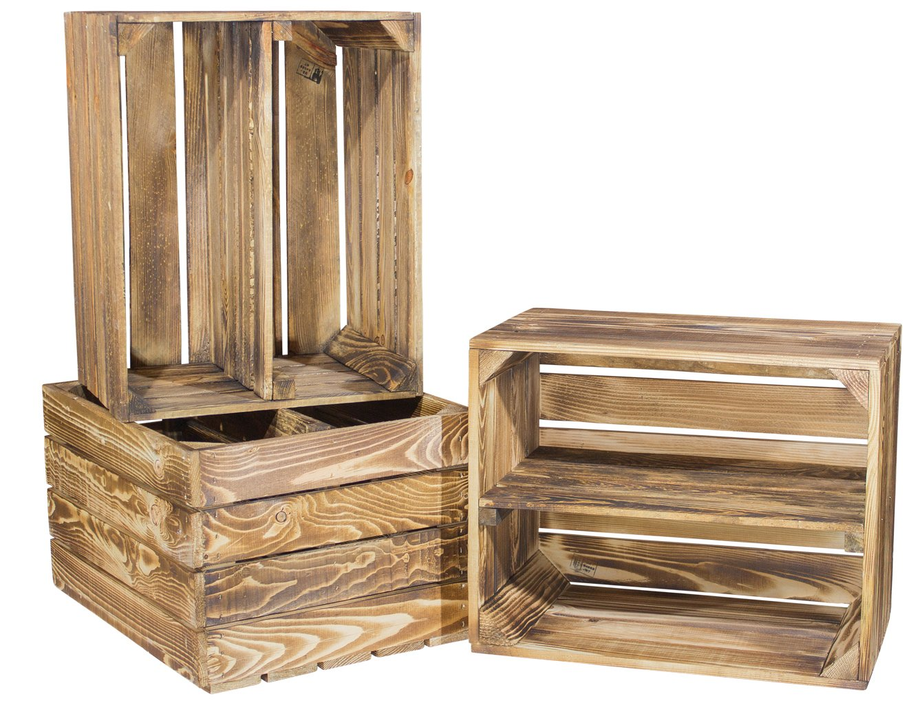 Set of 3 Apple Crate from Scorched Wood with Additional Medium Board Shoe or Bookcase Kistenkolli Altes Land®