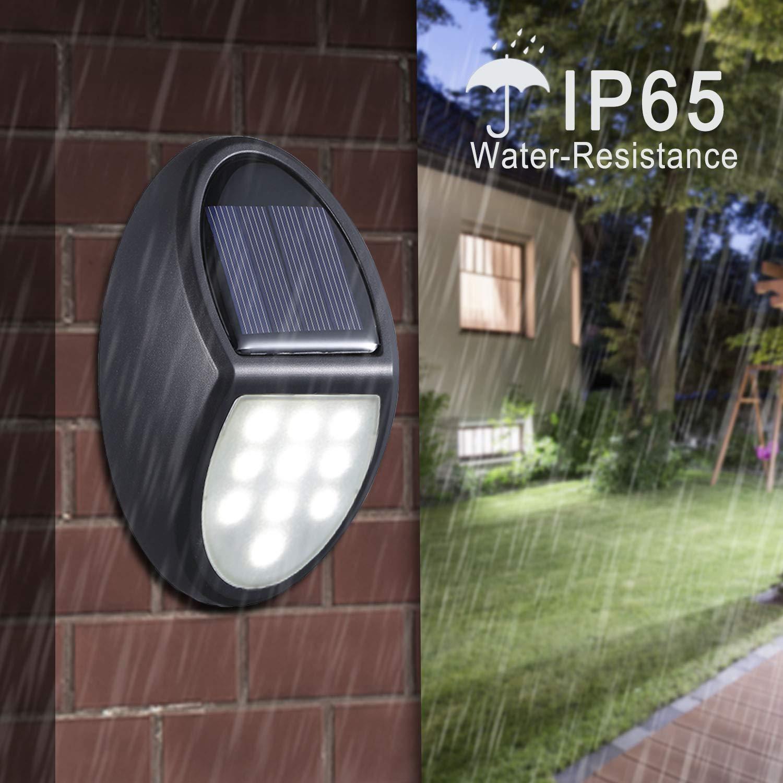 Giardino MOSUO 10 LED Lampada Solare 2 Pack luci LED con Pannello Solare IP65 Impermeabile LED Auto con sensore crepuscolare per Parete Esterno Classe di efficienza energetica A+ Scale Patio