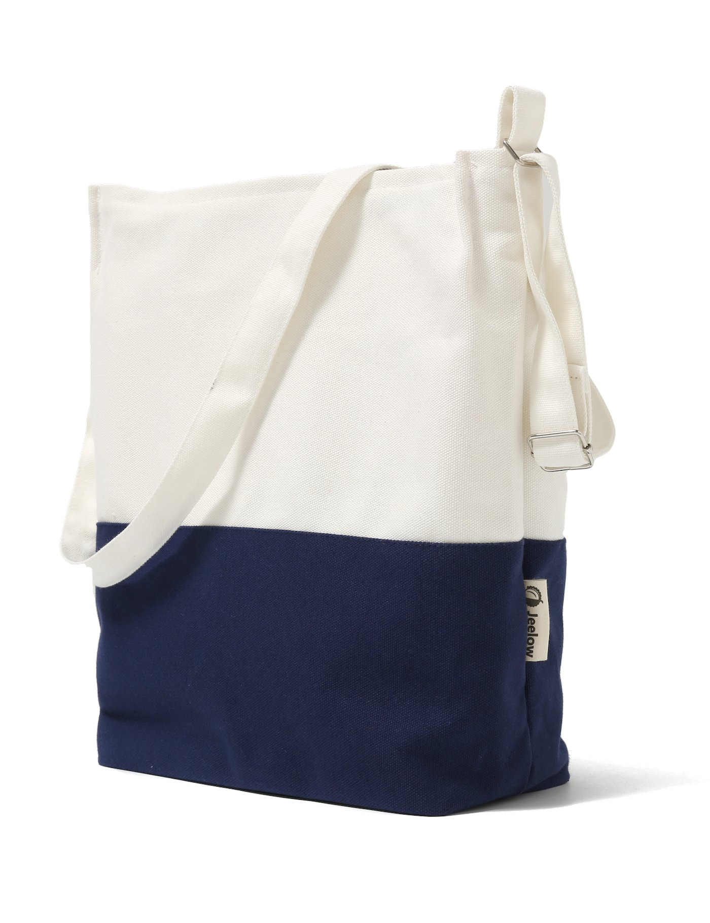 Canvas Tote Shoulder Bag Crossbody Bag Two Toned (White and Navy)