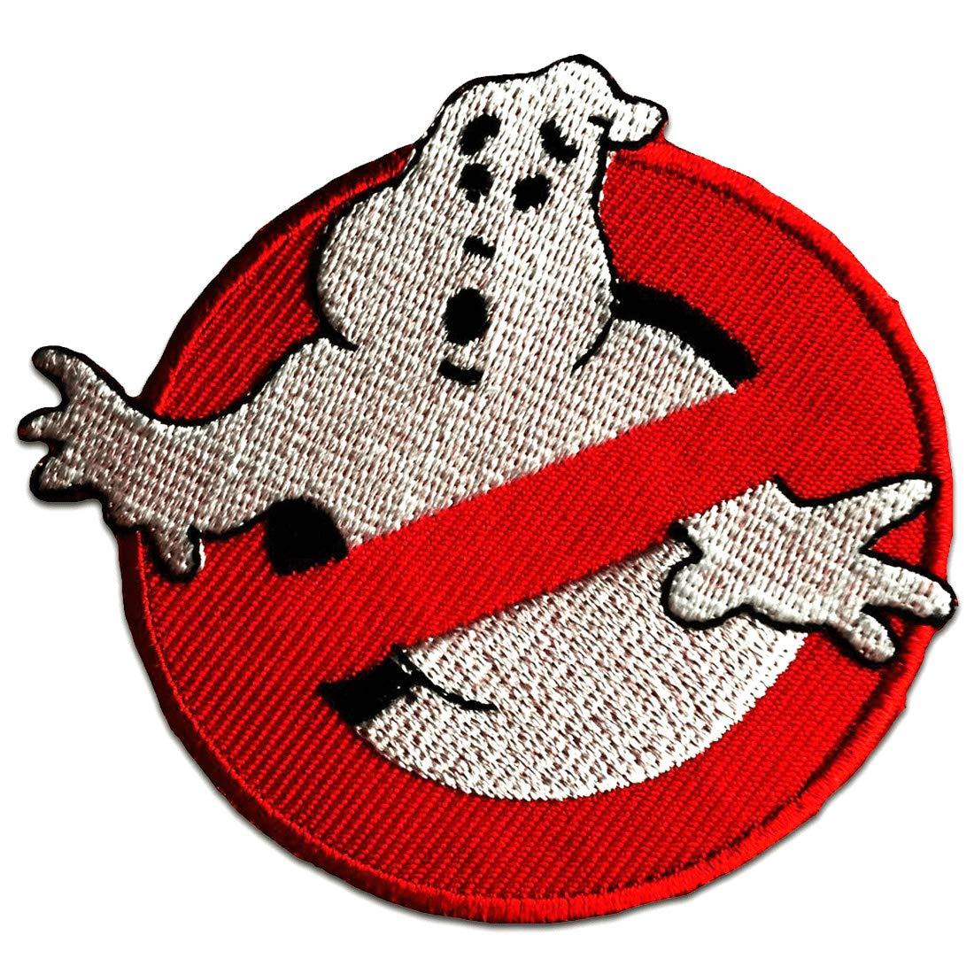 Toppe termoadesive - Ghostbuster Comic bambini Film - rosso - Ø7, 5cm - Patch Toppa ricamate Applicazioni Ricamata da cucire adesive catch-the-patch