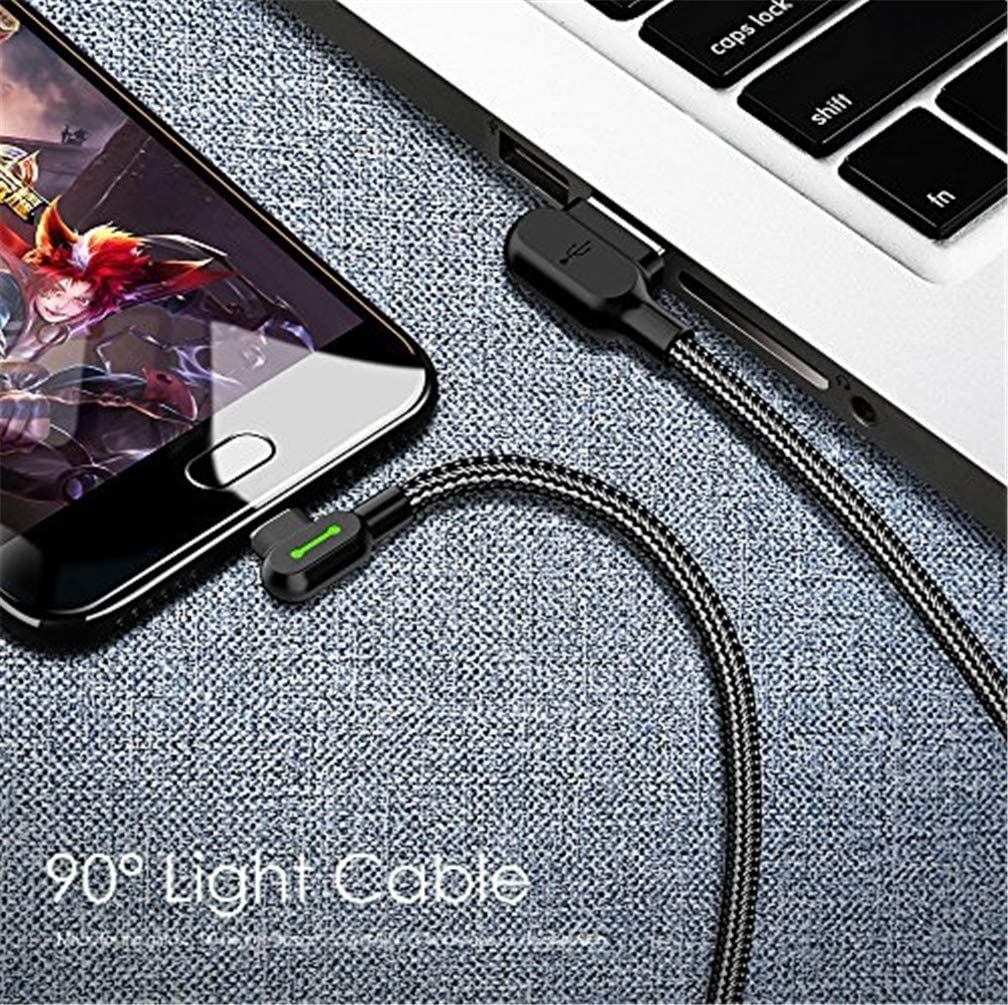 Black LED 90 Degree Type C Right Angle USB Cable Nylon Braided Fast Charger Data Sync Charging Cable Compatible with Galaxy S9 S8 Note 8 Huawei QKa Type C Cable
