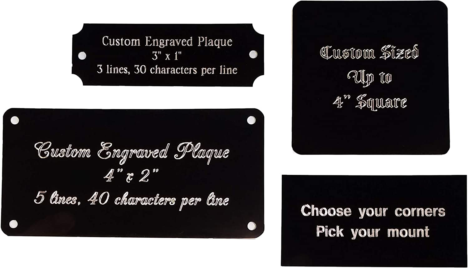 Name plate ALUMINUM Custom Engraved tag CHOICE of size Free engraving proof