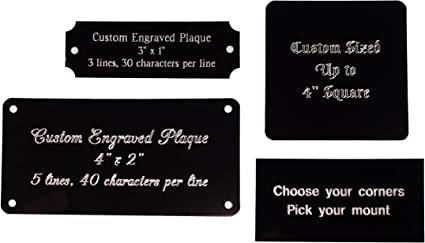 BLACK TROPHY AWARD PLAQUE PLATE  MANY SIZES /& STYLES ENGRAVED