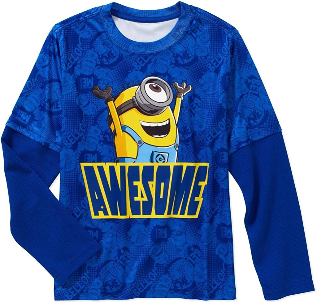 Despicable Me Minions Awesome Boys Faux Layered Long Sleeve Tee X-Small 4//5