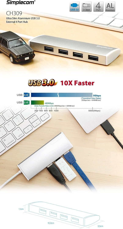 Simplecom CH309 Ultra Slim Aluminium USB 3.0 External 4 Port Hub for PC Mac Laptop Black