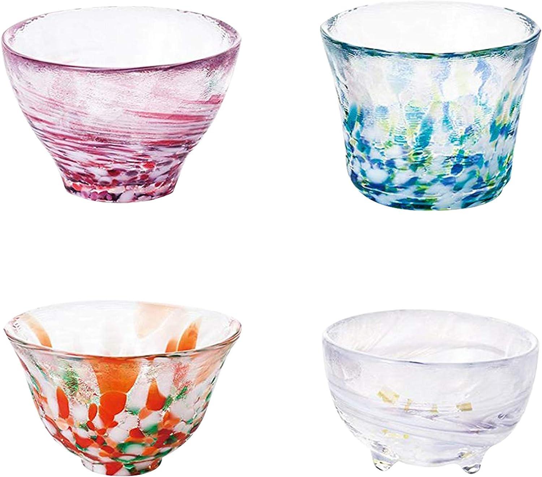 Japanese Sake Cup Mix Set Tin Golden 70ml Traditional Craft cup glass Guinomi