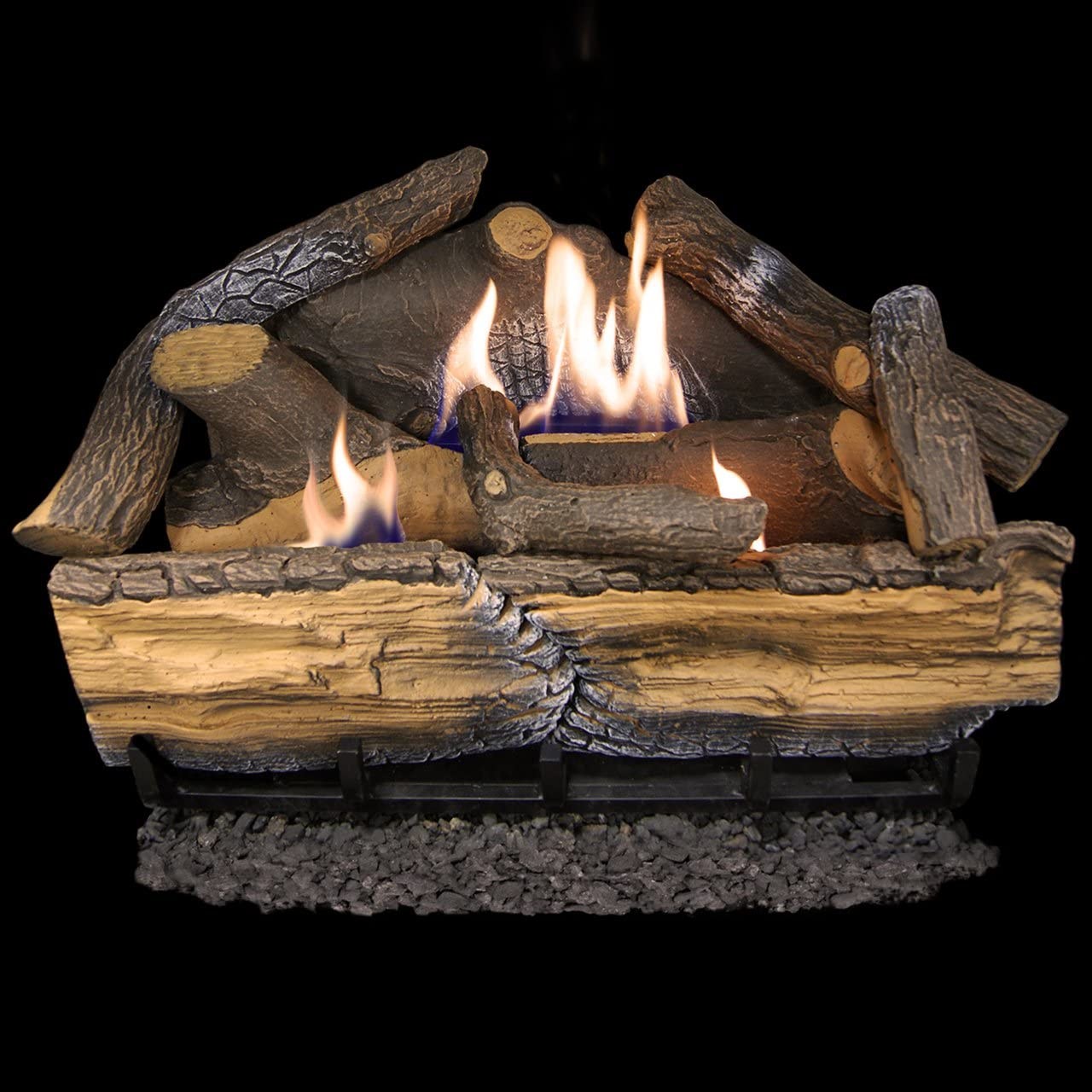 Amazon Com Cedar Ridge Hearth Recon 24 In 32 000 Btu Dual Burner Vent Free Gas Fireplace Logs With Thermostat Home Kitchen