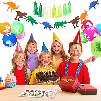 SPECOOL Globos de Dinosaurio, Globos de Dinosaurio Banner de cumpleaños Feliz, 10 Globos de Dinosaurio, 8 Borla Verde, 2 Paquetes de Pegatinas de ...