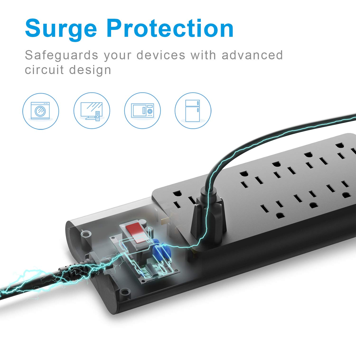 Power Strip, Bototek Surge Protector with 10 AC Outlets and 4 USB Charging Ports,1625W/13A 6 Feet Long Extension Cord for Smartphone Tablets Home,Office & Hotel- Black by bototek (Image #2)