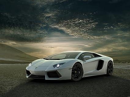 Amazon Com Lamborghini Aventador White Supercar Car Print Poster