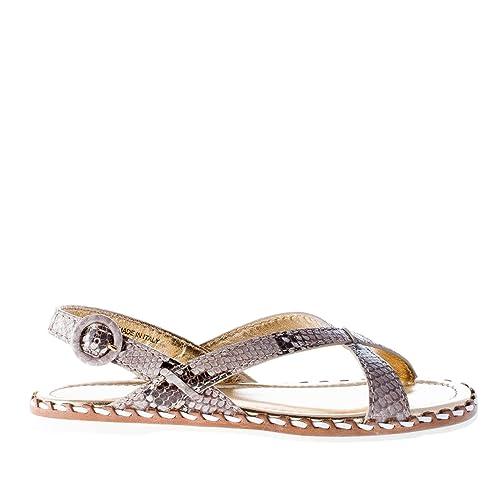 Shoe Sandalo Color Pelle Roccia Basso In Pitone Car Donna Stampa 3Aj5RL4