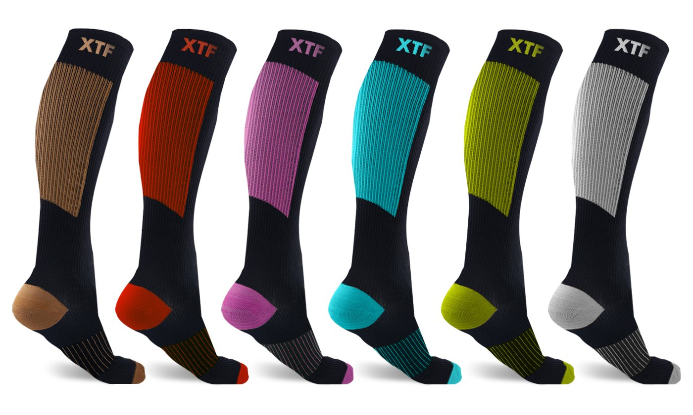Extreme Fit Copper Compression Socks for Men & Women - Made for Running, Athletics, Pregnancy and Travel - 6 Pair (Large/X-Large)