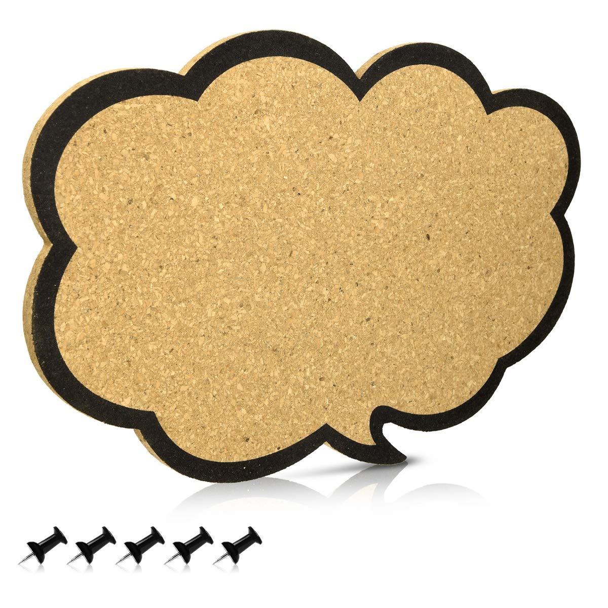Navaris Bacheca in sughero 44x29 cm a nuvoletta - Lavagna in sughero a forma di fumetto a nuvola con 5 puntine - Lavagnetta con ganci sul retro KW-Commerce 45363.02_m001253