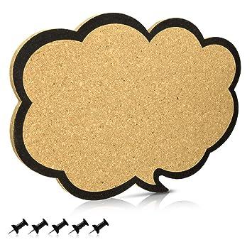 Navaris tablero de corcho con forma de nube - Pizarra de corcho de 44x29x1CM - Tablón para colgar anuncios y fotos con 5 chinchetas incluidas
