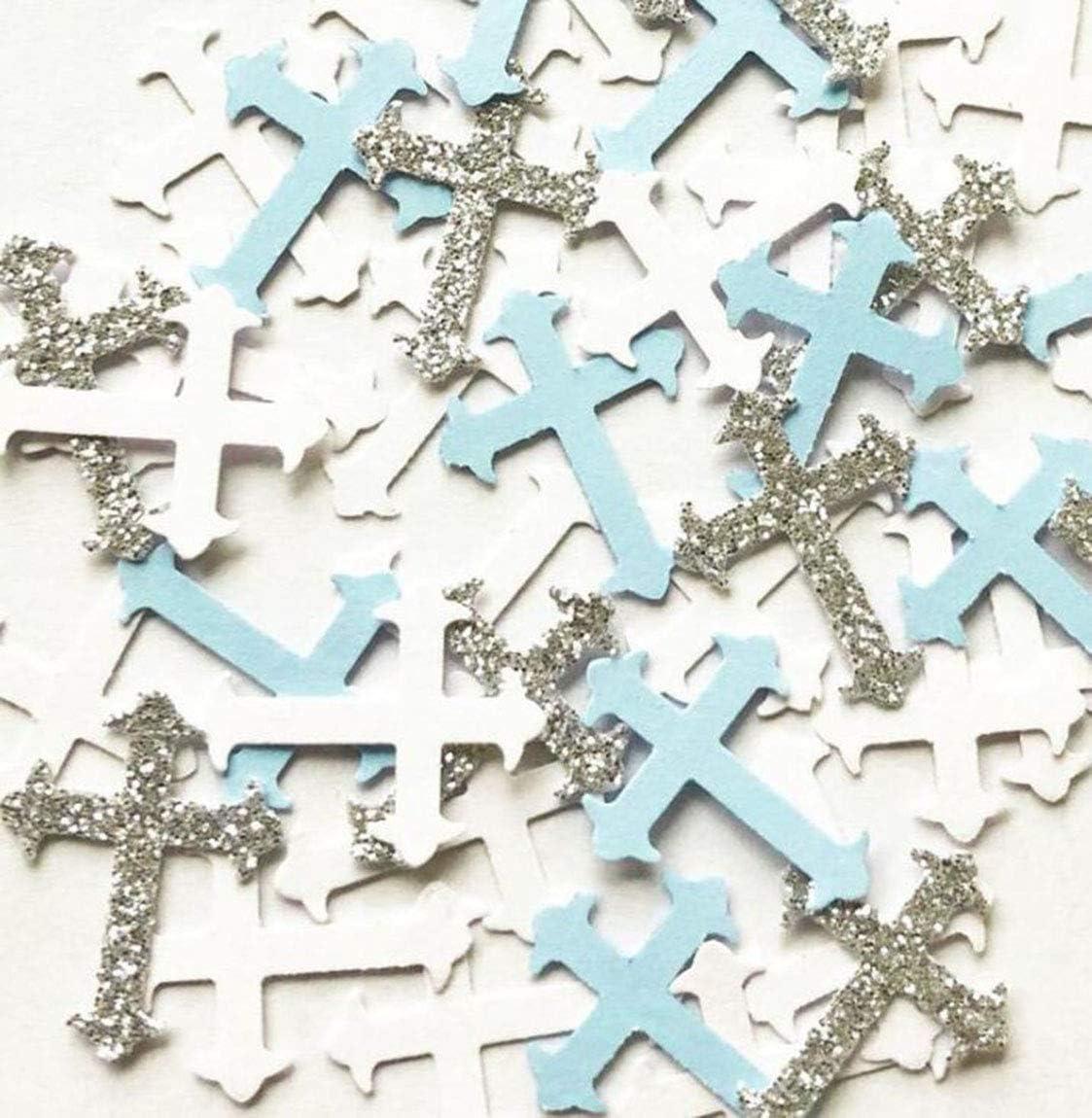 100Pieces 2.5inche Baby Blue Silver White Glitter Cross Confetti,Religious Party Confetti,Cross Table Confetti,Religion, Festival, Wedding, Engagement Baby Shower, Boy Baptism, Birthday Party Decor