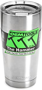 OEMTOOLS 26009 The Hammer Stainless Steel Insulated Tumbler, 20 oz. | Double-Wall Vacuum Insulated Coffee Mug/Tumbler | Keeps Drinks Hot or Cold for Hours | Kitchen-Grade Stainless Steel Tumbler