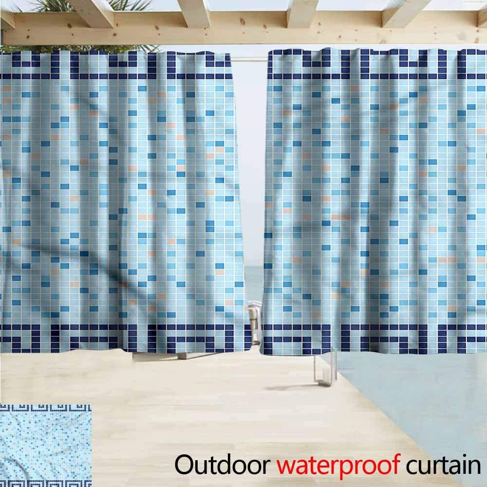 MaryMunger - Cortina para Puerta corredera, diseño de Azulejos griegos Antiguos, Color Azul: Amazon.es: Jardín