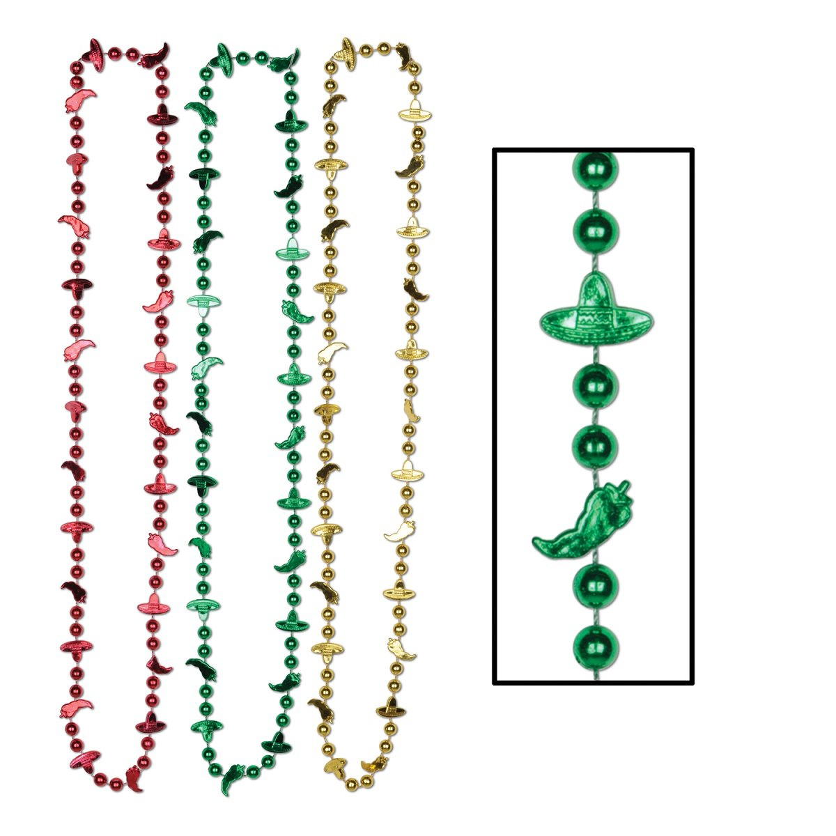Party Central Club Pack of 72 Assorted Fiesta Chili Pepper and Sombrero Bead Necklaces 33''