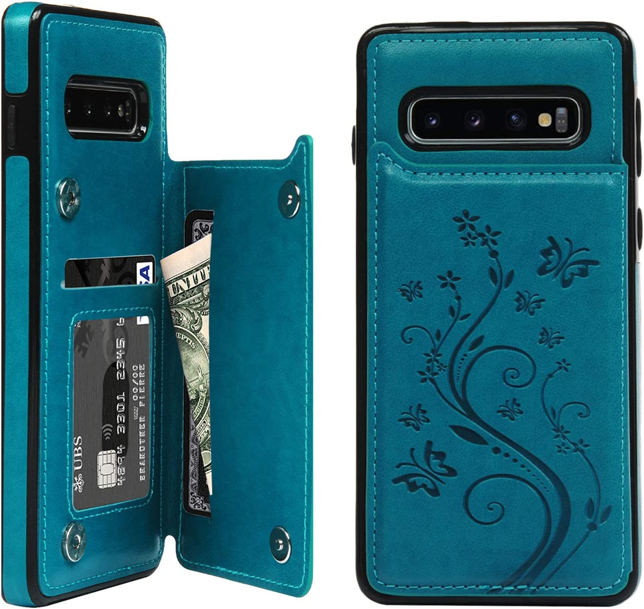 Galaxy S10 Plus Card Holder Case, Galaxy S10 Plus Wallet Case Embossed Butterfly Slim Folio Leather Cover Shockproof Shell with Credit Card Slot Protective Skin for Galaxy S10 Plus, Blue