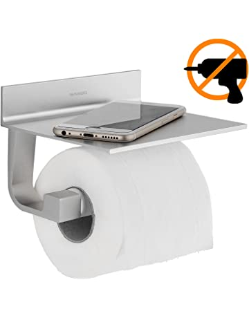 Wangel Portarrollo para Papel Higiénico, Pegamento Patentado + Autoadhesivo, Aluminio, Acabado Mate (