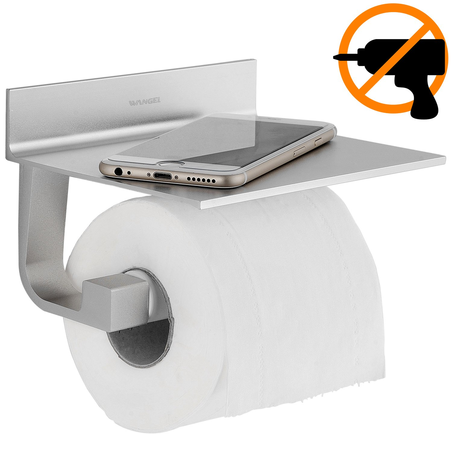 Wangel Toilet Roll Holder Without Drilling, Toilet Paper Holder with Shelf, Patented Glue + Self-Adhesive, Aluminum, Matte Finish