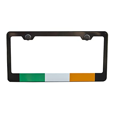 International Tie Flag-Themed License Plate Frame, High Grade 304 Stainless Steel (Ireland): Automotive [5Bkhe0103212]