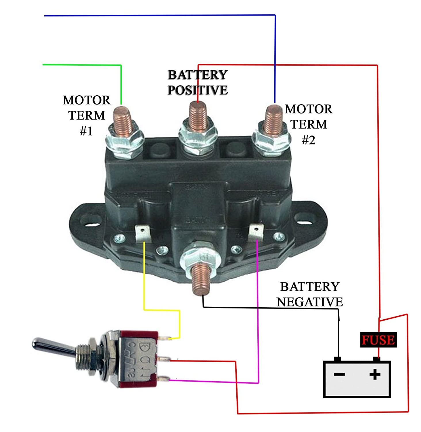 12 Volt Reversing Relay Wiring Diagram Electrical Horn Amazon Com Snow Plow Winch Motor Solenoid Switch Rh Dpst 12v Starter