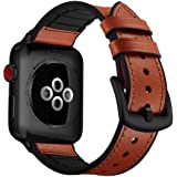 CASE U Rubber Hybrid Leather Band Strap Compatible with Apple Watch Series 4 44mm Series 3 Series 2 Series 1 42mm Sport Edition(Light Brown)