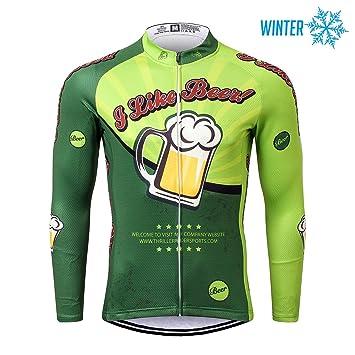 Thriller Rider Sports® Hombre I Like Beer Deportes y Aire Libre Invierno Térmico Calentar Chaqueta de Ciclismo