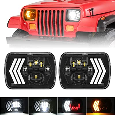 "7x6"" inch LED Headlights Halo, SUPAREE 5x7 inch Led Headlamp with DRL & Red Atmosphere Light Sequential Turn Signal Light for H6054 H5054 H6054LL 69822 Fit Trucks Jeep Wrangler XJ YJ Sedans GMC: Automotive"