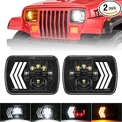 7x6 inch Halo LED Headlights OVOTOR 5x7 inch Square LED Headlamp with Arrow Angel Eyes DRL Turn Signal Light Replaces H6054 H5054 H6054LL 69822 Fit Trucks Jeep Wrangler XJ YJ Sedans GMC