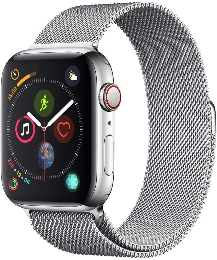 Apple Watch Series 4 (GPS + Cellular, 44MM) - Stainless Steel Case with Silver Milanese Loop Band (Renewed)
