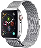 Apple Watch Series 4 (GPS + Cellular, 40MM) - Stainless Steel Case with Silver Milanese Loop Band (Renewed)