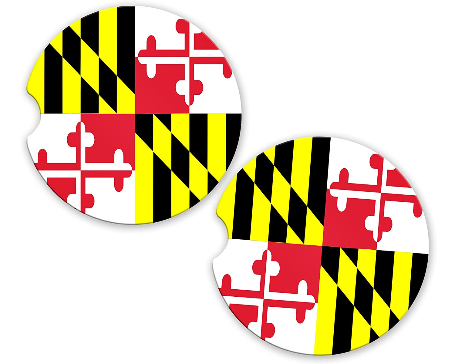 Maryland State Flag Custom Car Coasters Cup Holder Matching Coaster Set BrownInnovativeMedia
