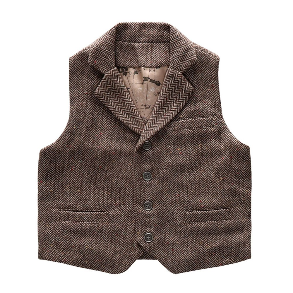 Coodebear Boys' Girls' Waistcoat Map Lined Pockets Lapel Collar Vests Herringbone Brown Size 4T