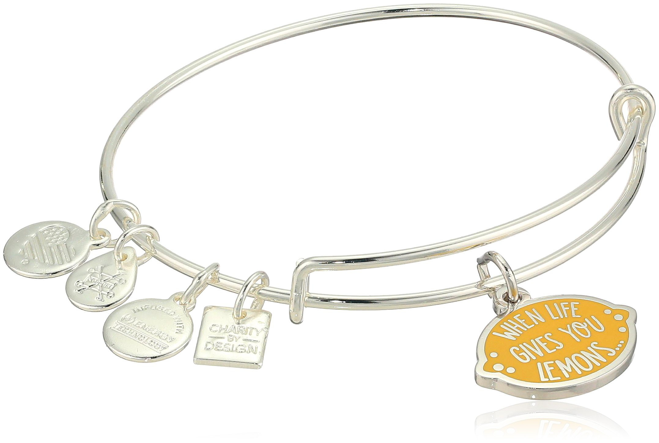 Alex and Ani Womens Charity By Design, When Life Gives You Lemons Bangle Bracelet, Shiny Silver, Expandable