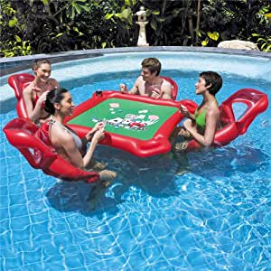 WXH La Mesa Inflable de póquer para la Piscina, la balsa Flotante de los Juguetes de la Piscina, Incluye 4 sillas flotantes para el salón Póquer y fichas Impermeables, portavasos incorporados: Amazon.es: