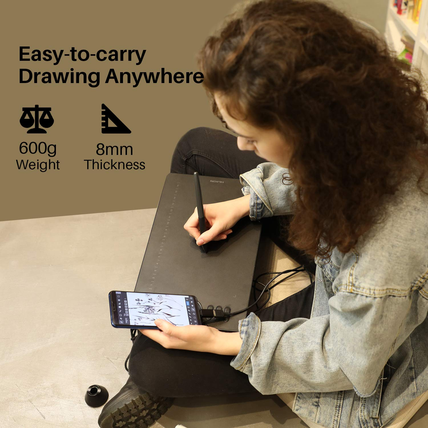 PC or Android Mobile 8192 Pressure Sensitivity Huion HS610 Graphics Drawing Tablet with Touch Ring and 28 Express Keys Compatible with Mac Battery-Free Stylus