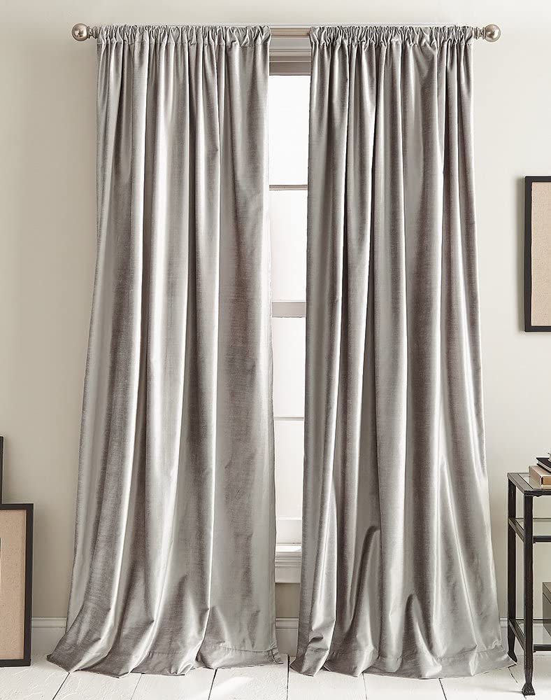 DKNY Modern Knotted Velvet Lined Curtain Panel Pair, 108