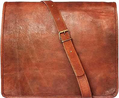 33 Cm Bolso Bandolera Laptop Bag Bolsa De Hombro Cuerpo Cruzado Grande para Mensajero Mensajeria De Cuero Piel Marron Portatil Notebook Bag College Office Hombre Y Mujer Leather Messenger Bag
