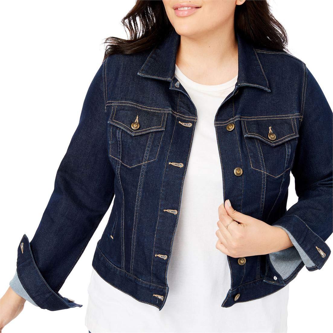Woman Within Plus Size Stretch Denim Jacket - Dark Indigo, 16 W