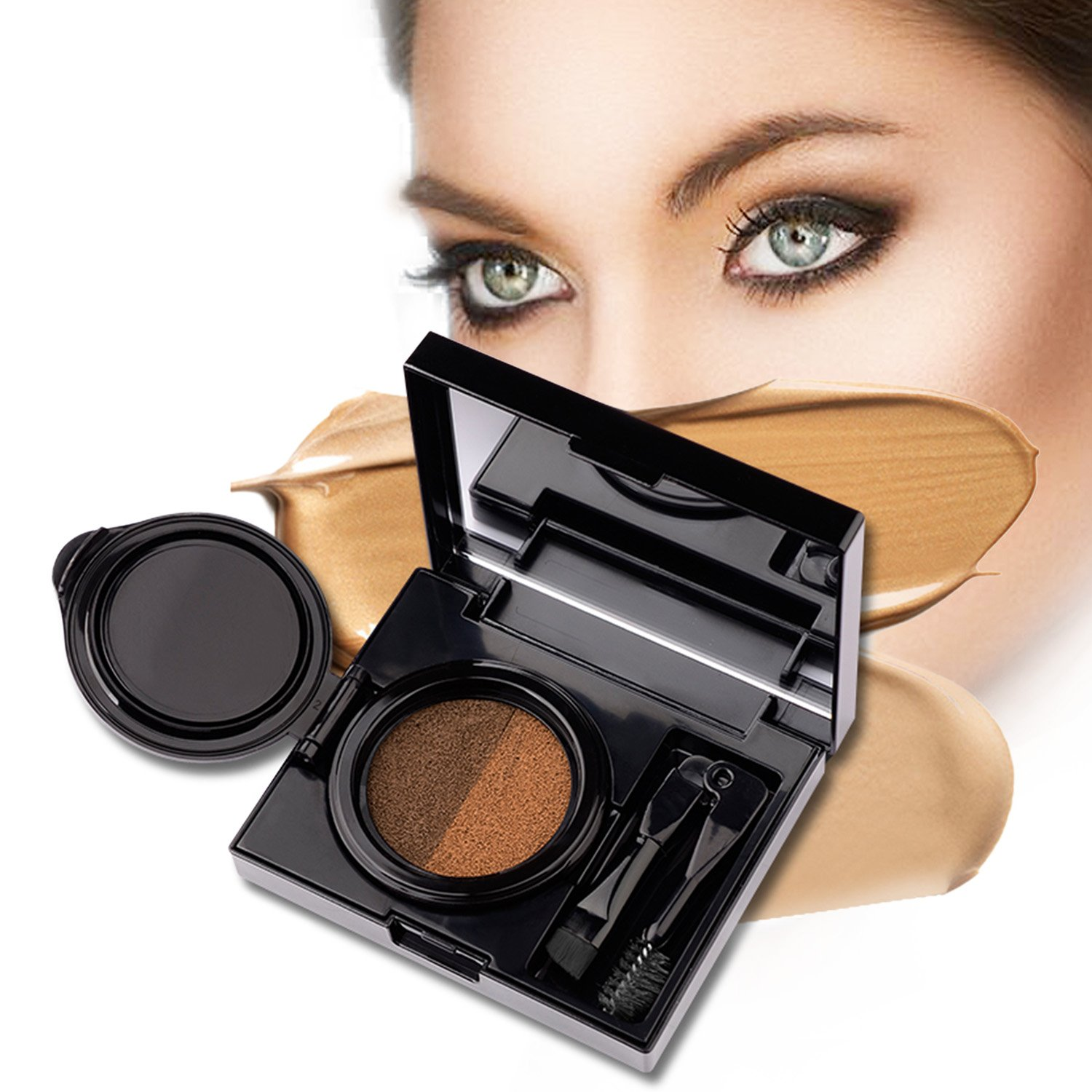 Turelifes Eyebrow Gel Brow Cushion Natural Eyebrow Powder Waterproof with Dark Brown and Light Brown for Perfect Brow