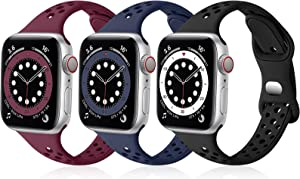 SNBLK Bands Compatible with Apple Watch Bands 38mm 40mm for Women, Breathable Slim Soft Silicone Sport Replacement Band for iWatch SE Series 6 5 4 3 2 1,Wine Red/Navy Blue/Black