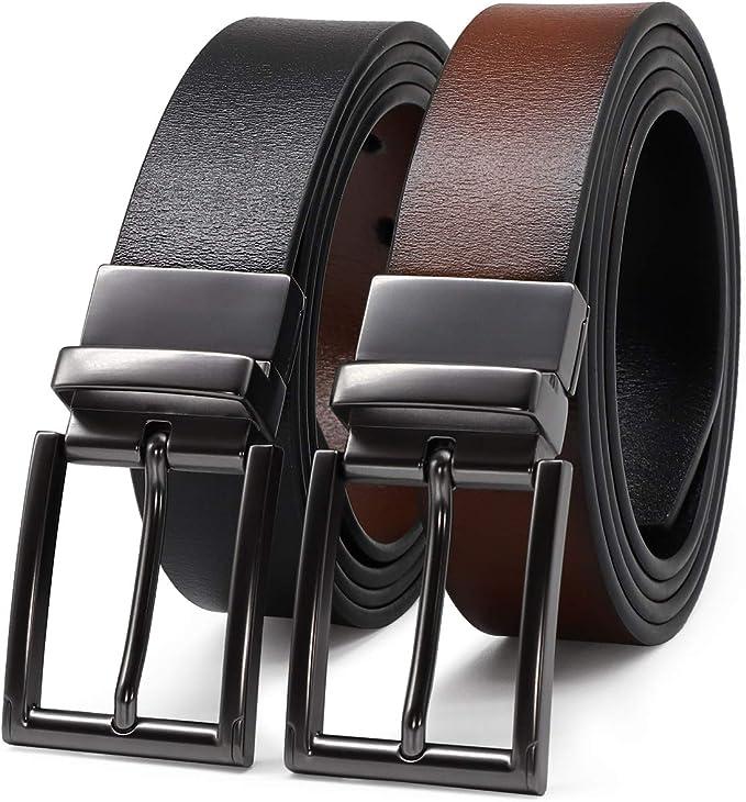 Mens Reversible Genuine Leather Jeans Designer Belts For Men With Removeable Golden Buckle Black//Brown