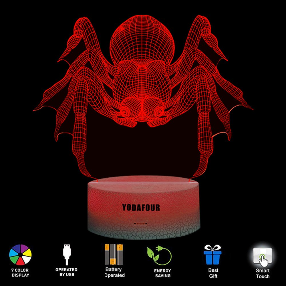 YODAFOUR Spider 3D LED Illusion Animal Night Light Lamp Birthday Anniversary Children Party Gift LED Nursery Bedside Table Desk Night Lamps Lights for Boys Baby Kid Animal Lovers Room Theme Decor by by YODAFOUR