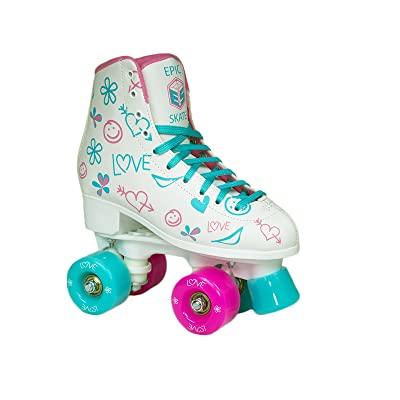 Epic Frost High-Top Indoor/Outdoor Quad Roller Skates w/2 pr of Laces (Pink & Blue) - Children's : Sports & Outdoors
