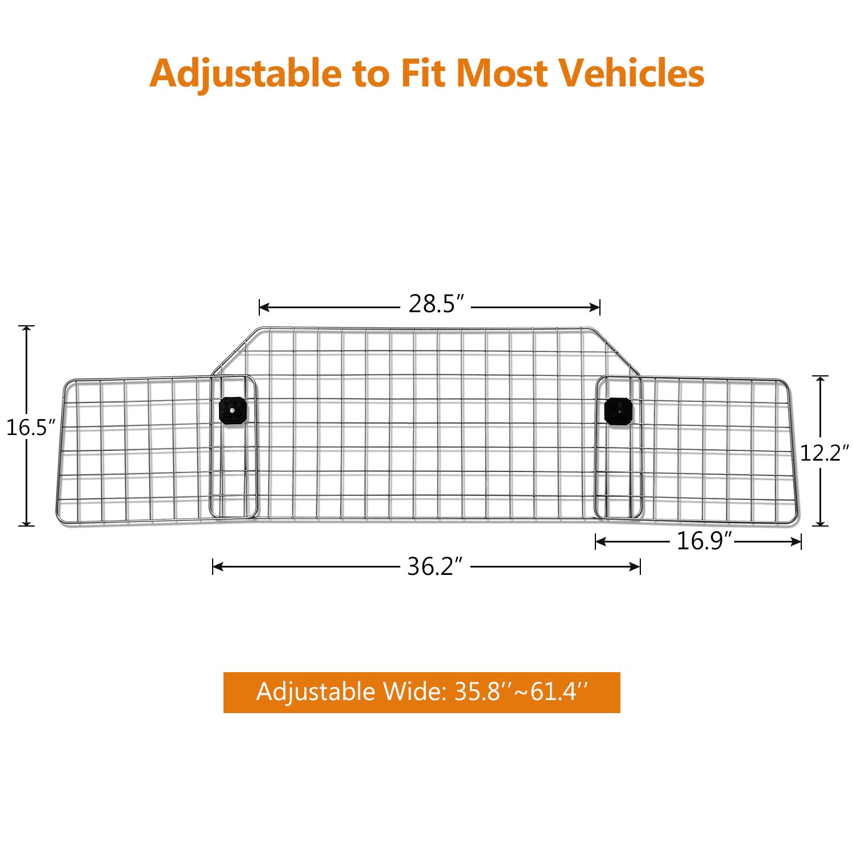 Sailnovo Dog Barrier for Car SUV Vehicles, Adjustable Pet Barrier Wire Mesh Dog Car Barrier for Cargo Area - Universal Fit by Sailnovo (Image #3)