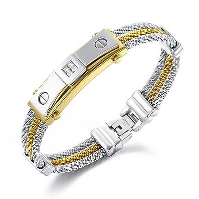 Bracelet cable acier pour homme