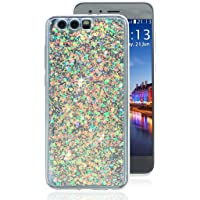 Huawei Honor 9 Case Glitter, Huawei Honor 9 Soft Gel Case, Rosa Schleife Sparkle Bling Glitter Soft Acrylic Gel TPU Bumper Phone Case Protective Shell Cases Covers for Huawei Honor 9 - Light Purple