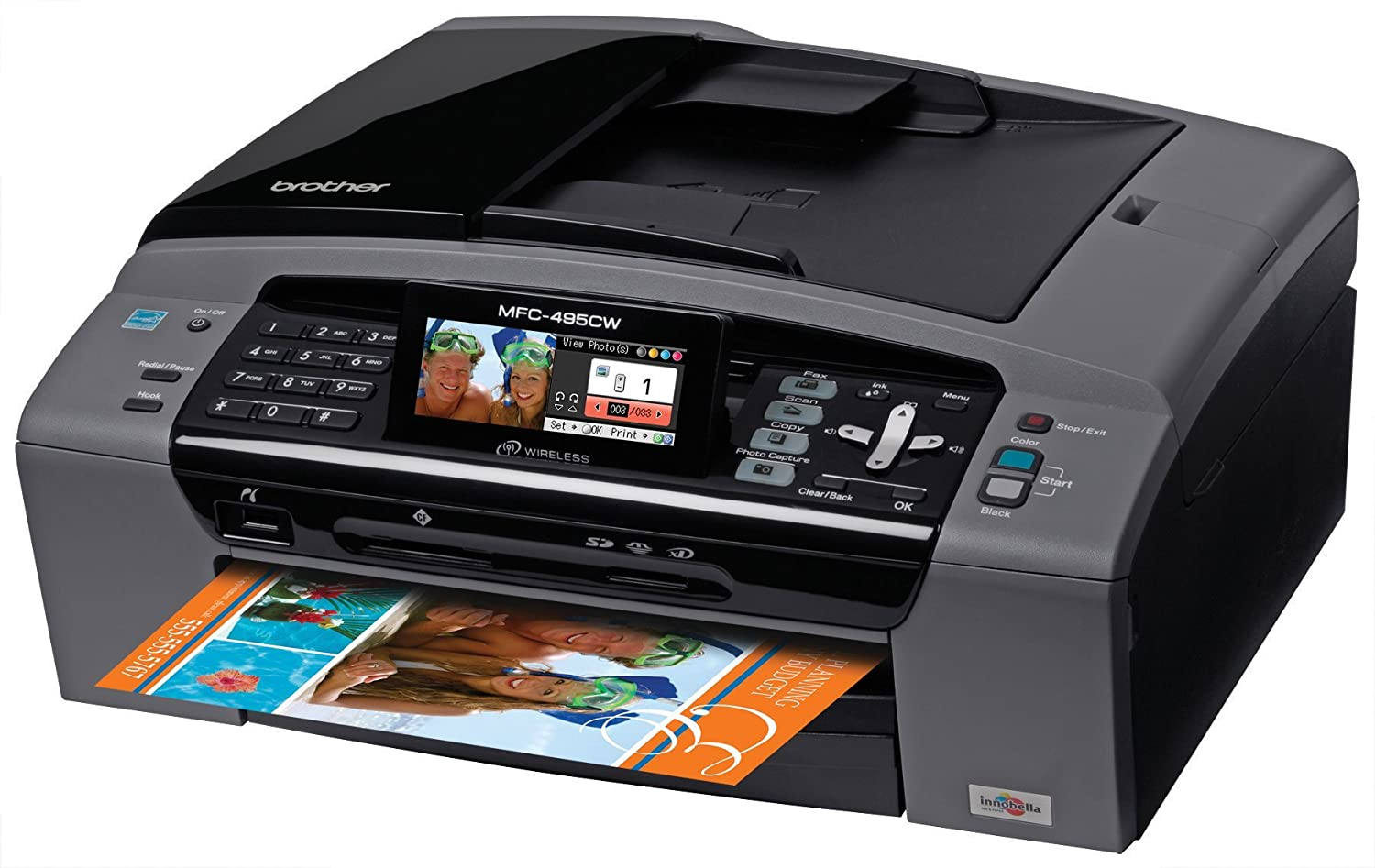 Brother MFC-495CW Inkjet Color Multifunction Center with Wireless Networking for the Small Office/Home Office